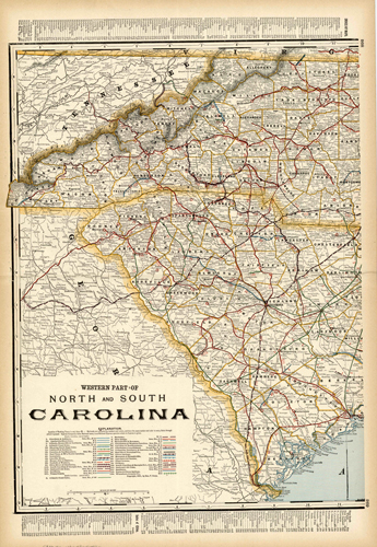 Western part of North and South Carolina (Railroad Map)