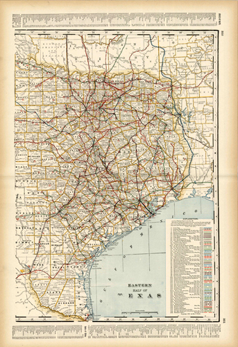 Eastern Half of Texas (Railroad Map)