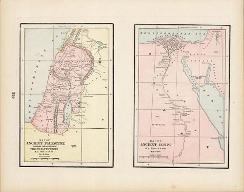 Map of Ancient Palestine Showing the Location of the Twelve Tribes B.C. 1600 - A.D.70 / Map of Ancient Egypt B.C.300 - A.D. 640