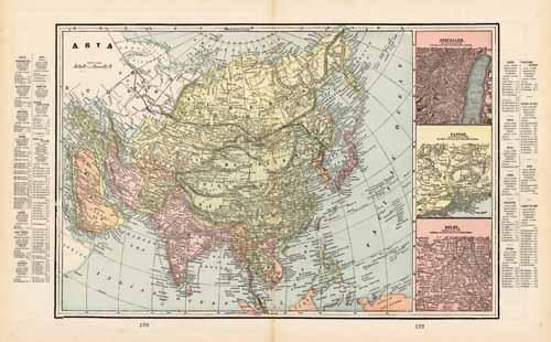 Asia (with inset maps of Jerusalem