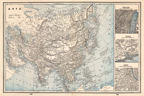 Asia with inset maps of Jerusalem