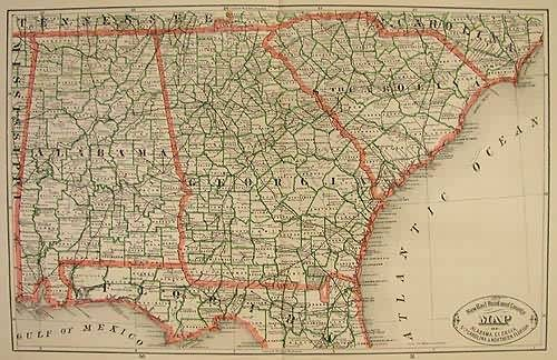 New Rail Road and County Map of Alabama