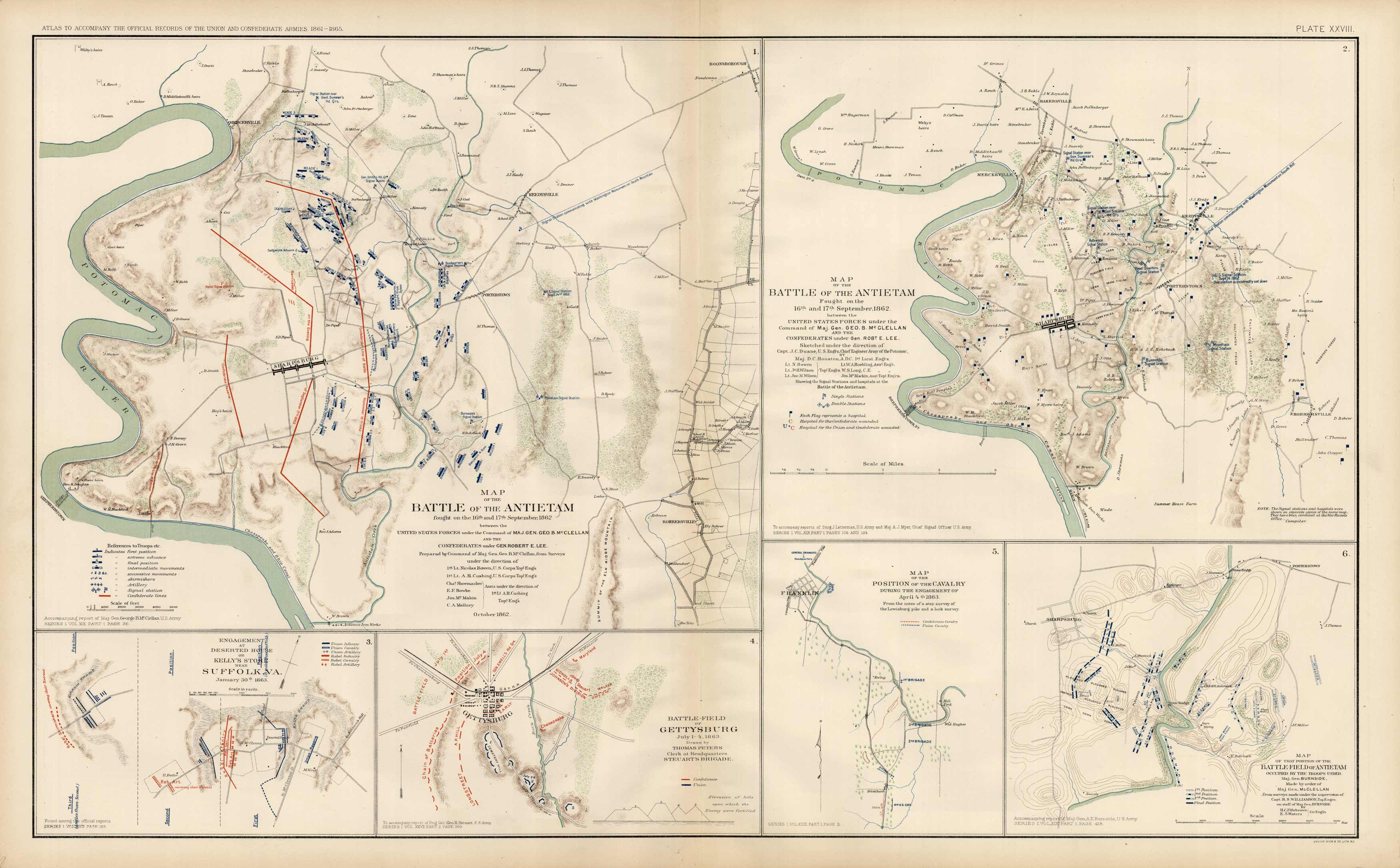 Civil War Atlas; Plate 28; Map of the Battles of Gettysburg and Antietam