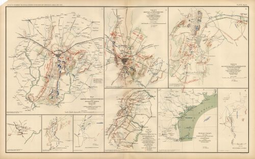 Civil War Atlas; Plate 43; Map of Battles Gettysburg and Winchester; Map of Texas Coast