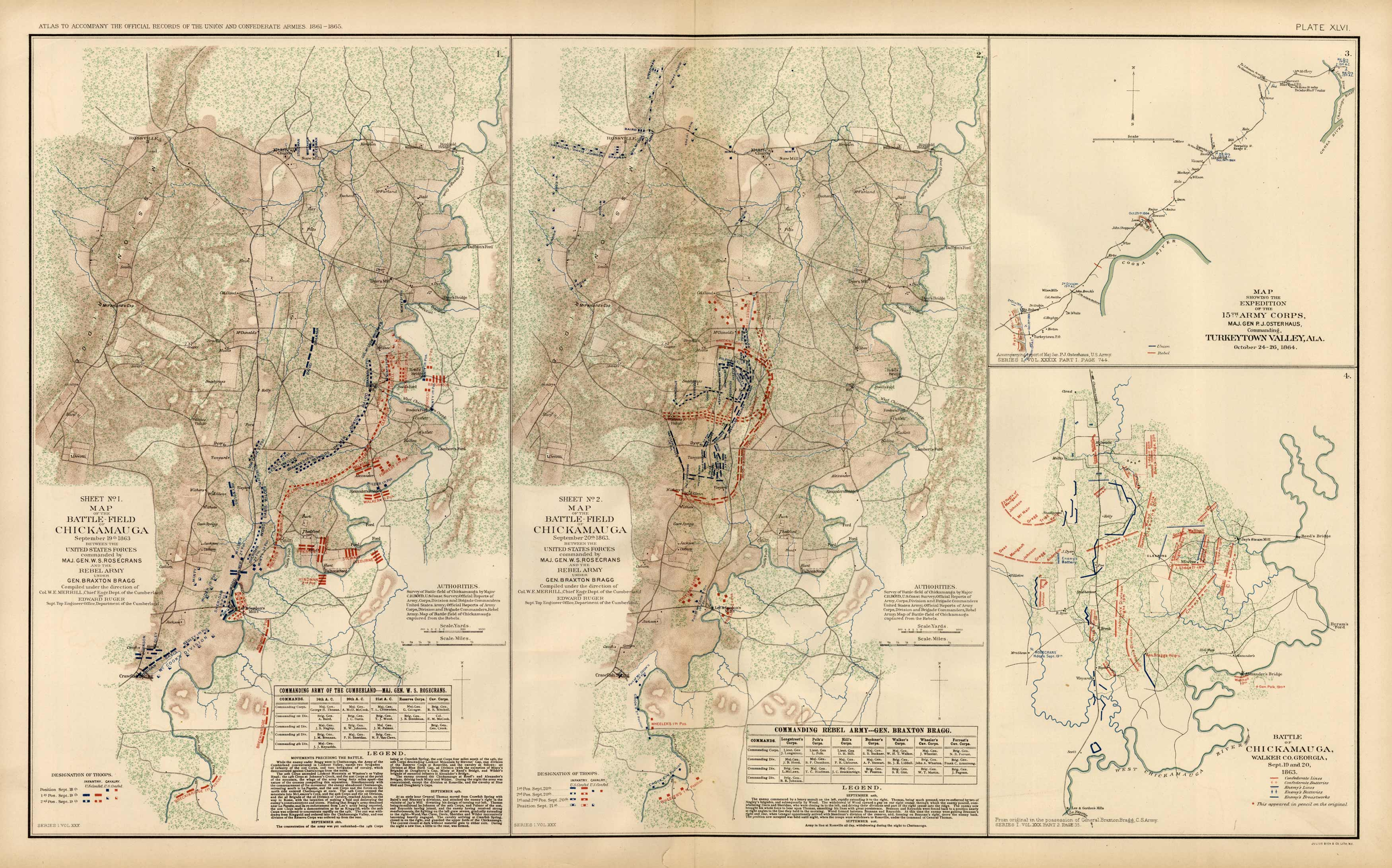 Civil War Atlas; 1892; Plate 46; Map of Battle of Chickamauga; Turkeytown Valley
