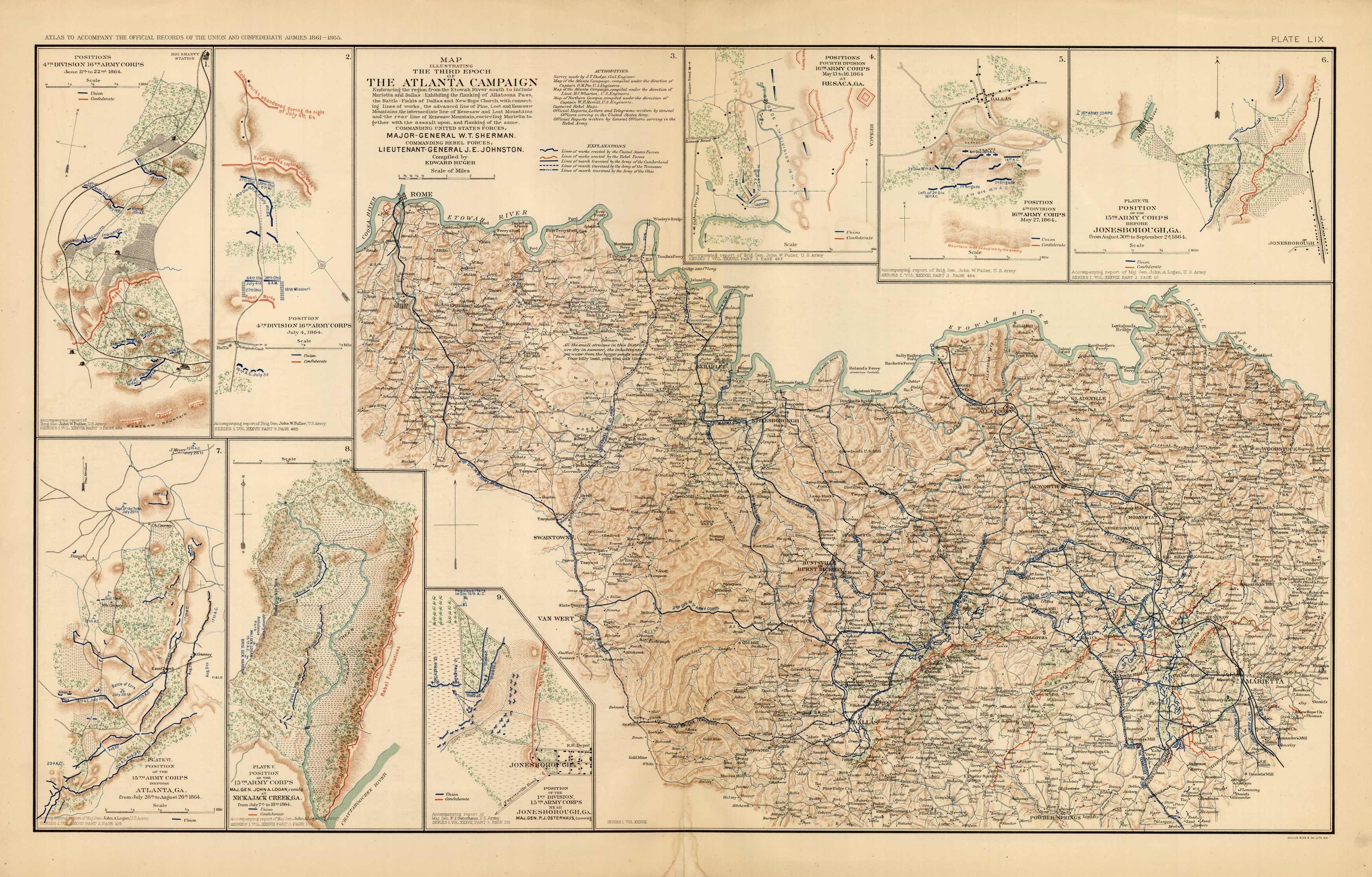 Civil War Atlas; Plate 59; Maps of Atlanta Campaign