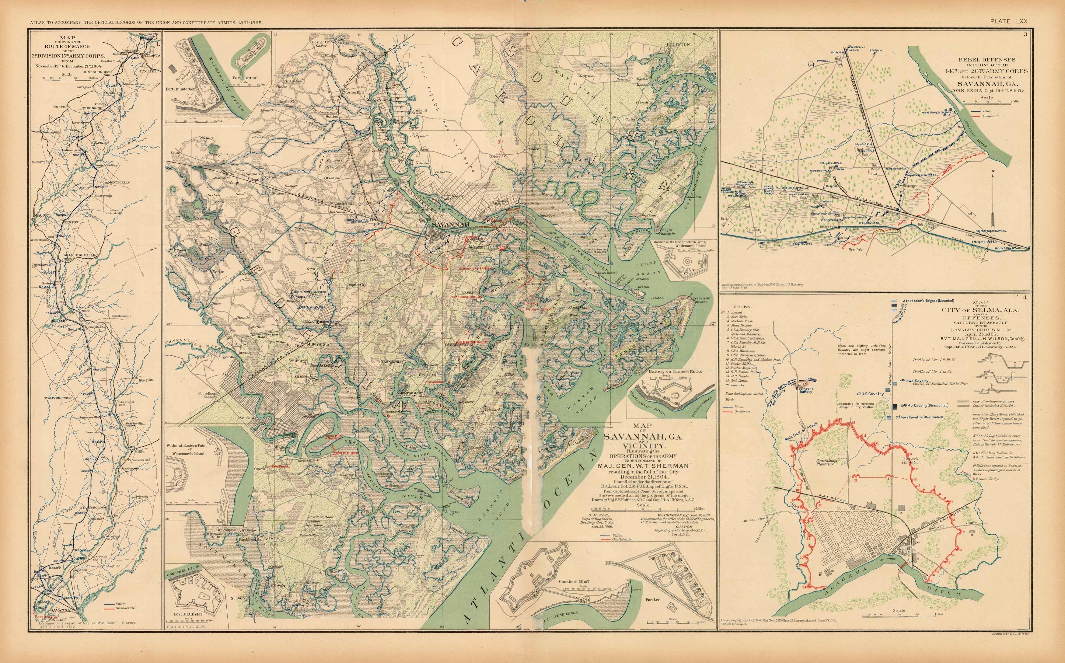 Map Of Georgia Plantations.Civil War Atlas Plate 70 Maps Of Savannah Georgia Selma Alabama