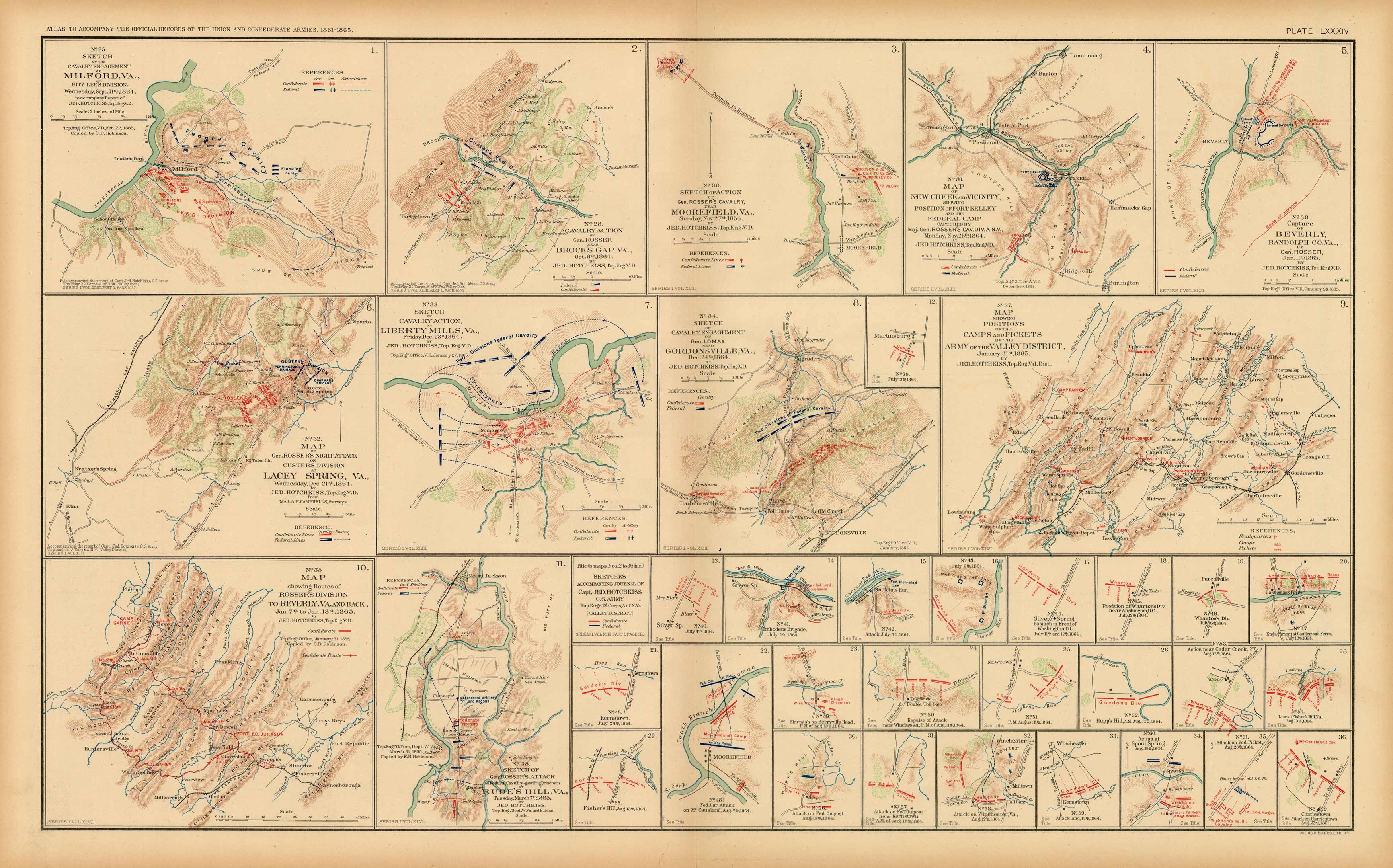 Civil War Atlas; Plate 84; Sketch of Cavalry Engagement at Milford