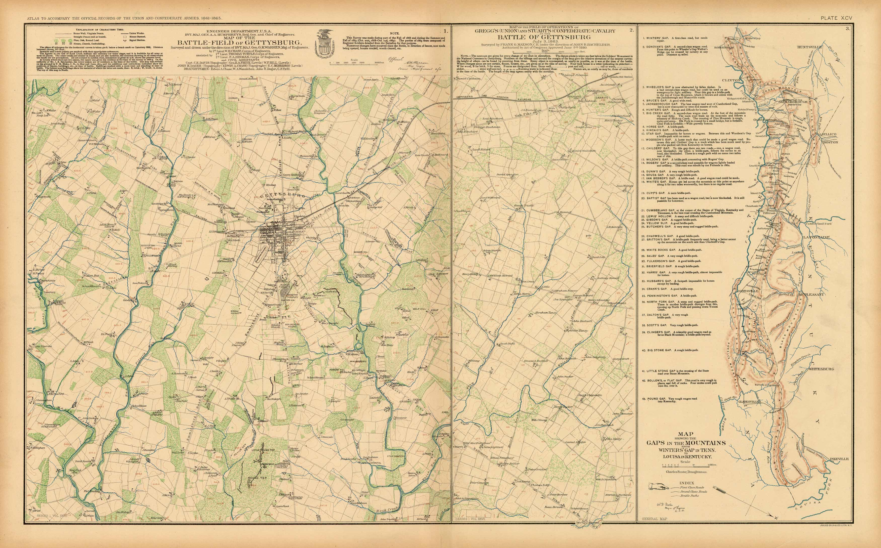 Civil War Atlas; Plate 95; Map of the Battle-Field of Gettysburg; Cavalry at Gettysburg; Gaps in the Mountains Winters in Tenn. to Louisa in Kentucky