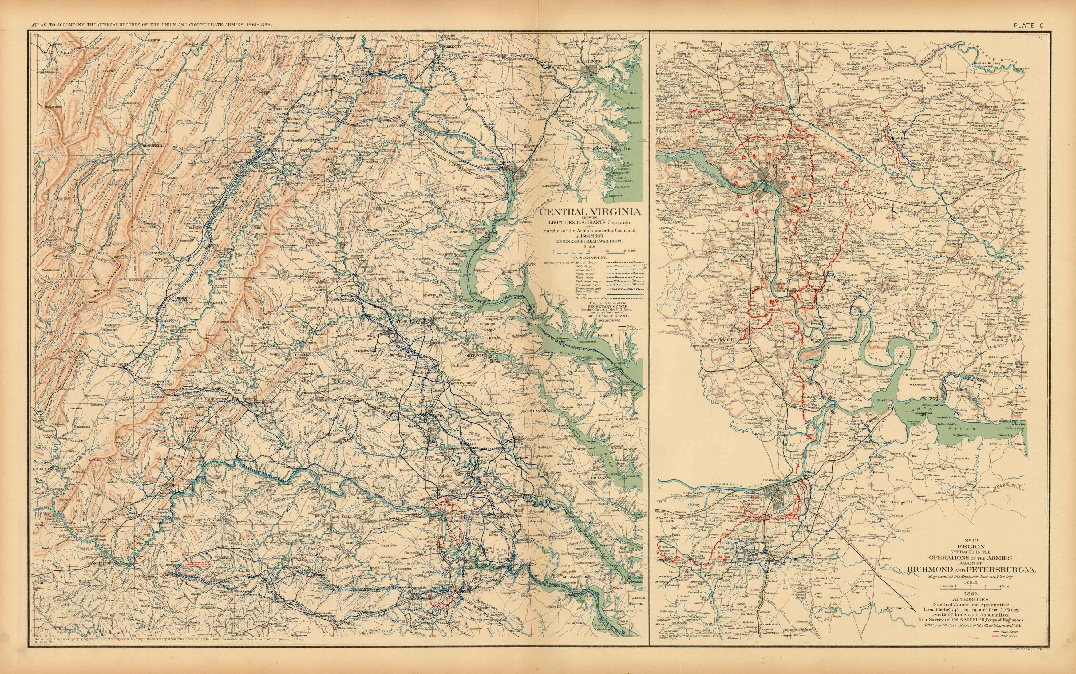 Civil War Atlas; Plate 100; Maps of General Grants Campaign