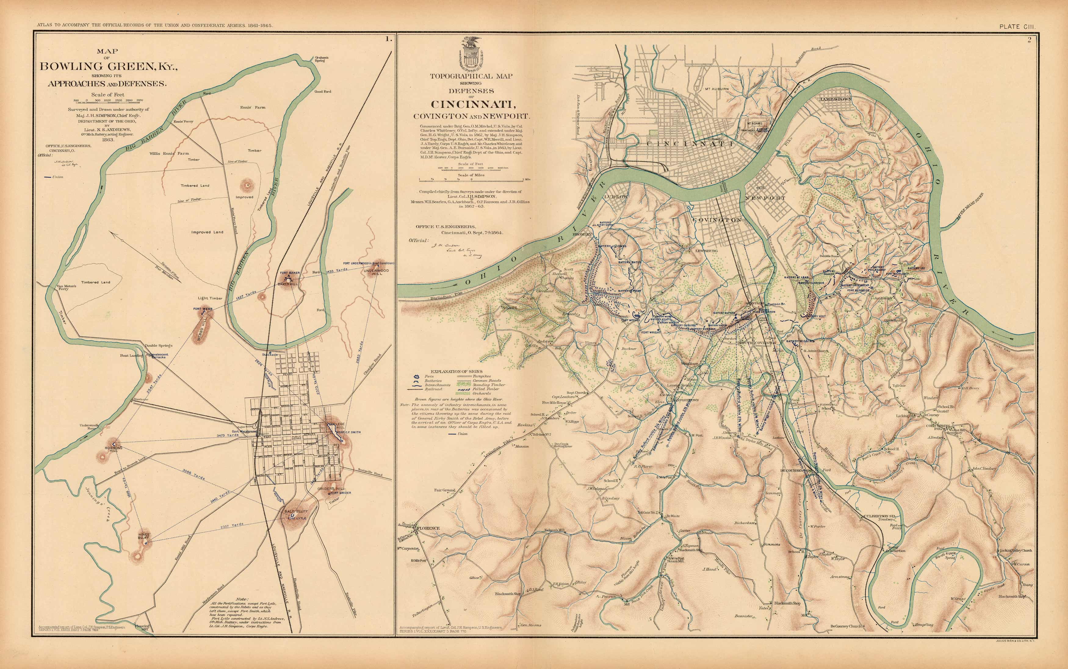 map of bowling green kentucky Civil War Atlas Plate 103 Map Of Bowling Green Ky Defenses Of map of bowling green kentucky