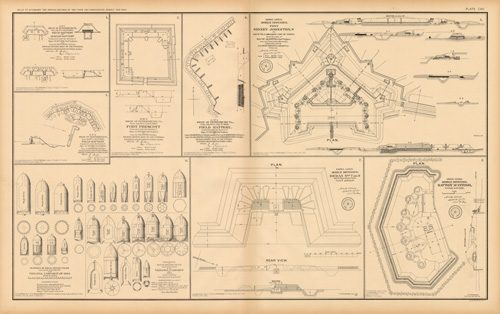 Civil War Atlas: Plate 107; Fort Prescott; Field Battery; Fort Sidney Johnston; Redan No.7