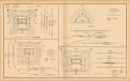 Civil War Atlas: Plate 108; Fort Jeb. Stuart K; Mobile Defenses Lunette D; Mouton; G.H. and I.