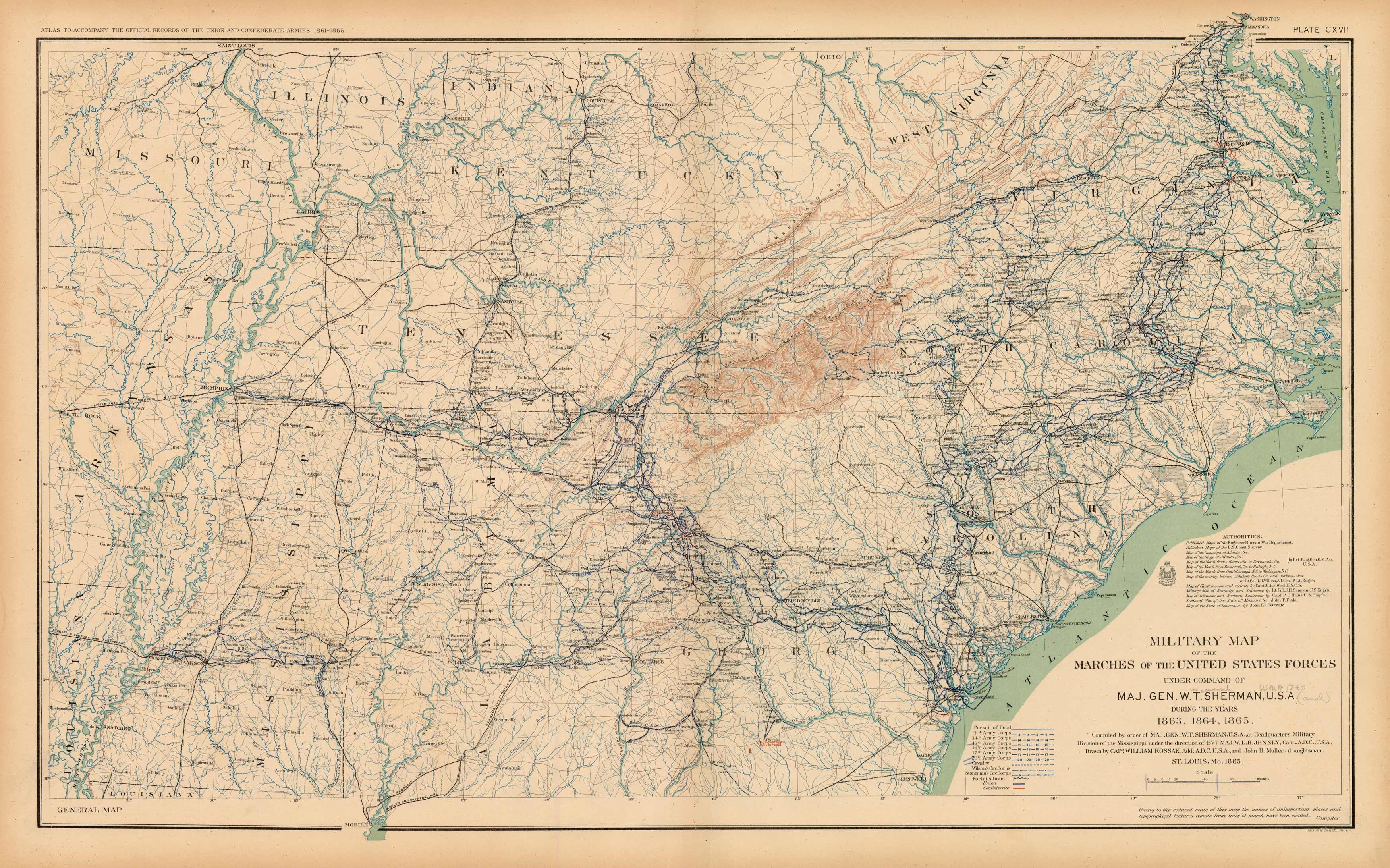 Civil War Atlas; Plate 117; Battle Map of Marches Under General Sherman
