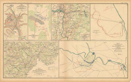 Civil War Atlas: Plate 135; Buckingham and Appomattox; Battle of Cedar Mountain; Chancellorsville; Defenses of Macon; Richmond