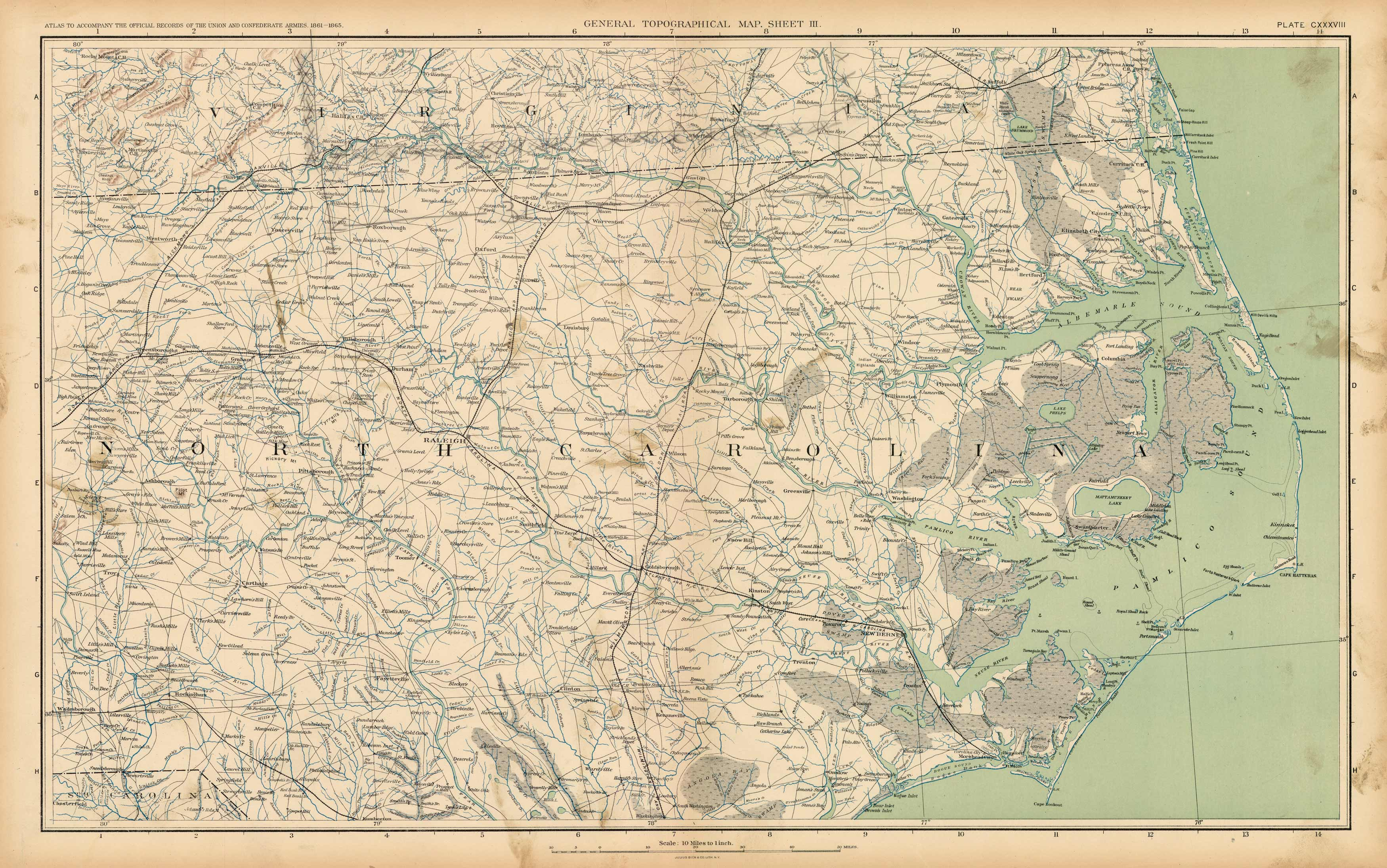 Civil War Atlas; Plate 138; Topographical Map of the Theatre of War; North Carolina
