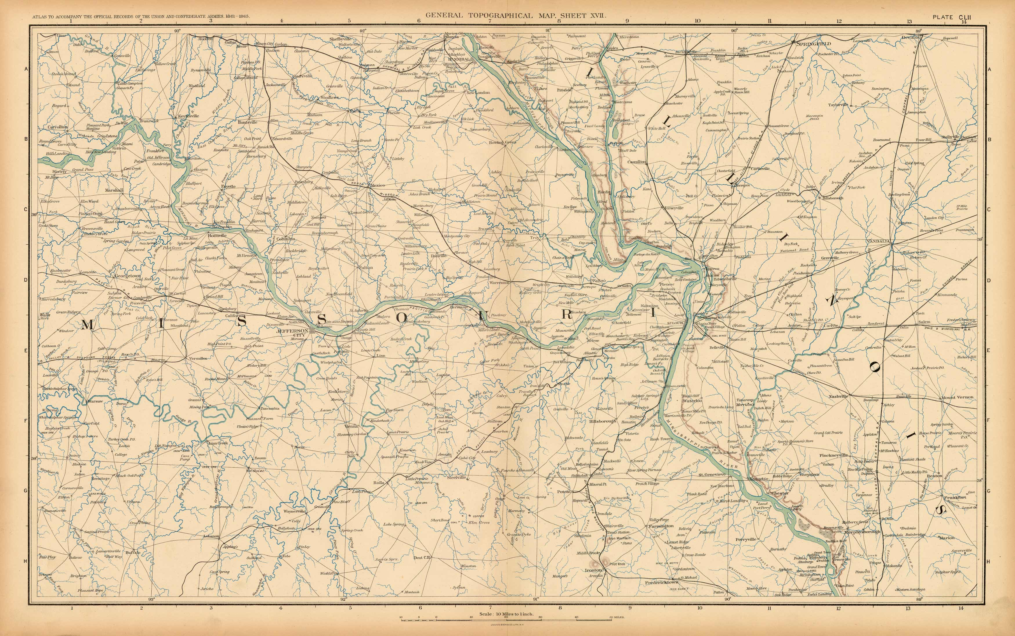 Civil War Atlas; Plate 152; Topographical Map of the Theatre of War; Missouri and Illinois