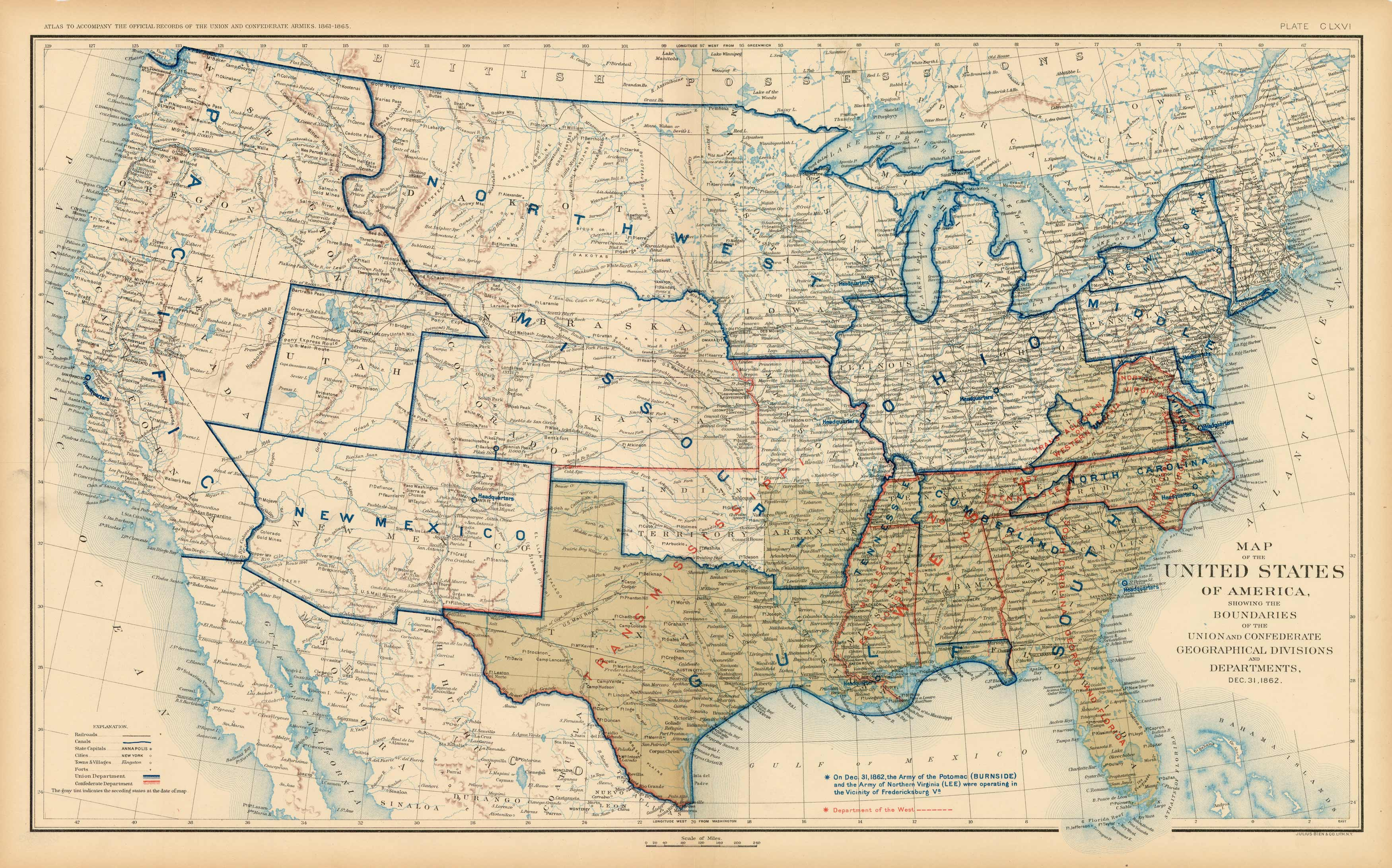 Civil War Atlas; Plate 166; Map of the United States of America Showing the  Boundaries of the Union and Confederate Geographical Divisions and ...