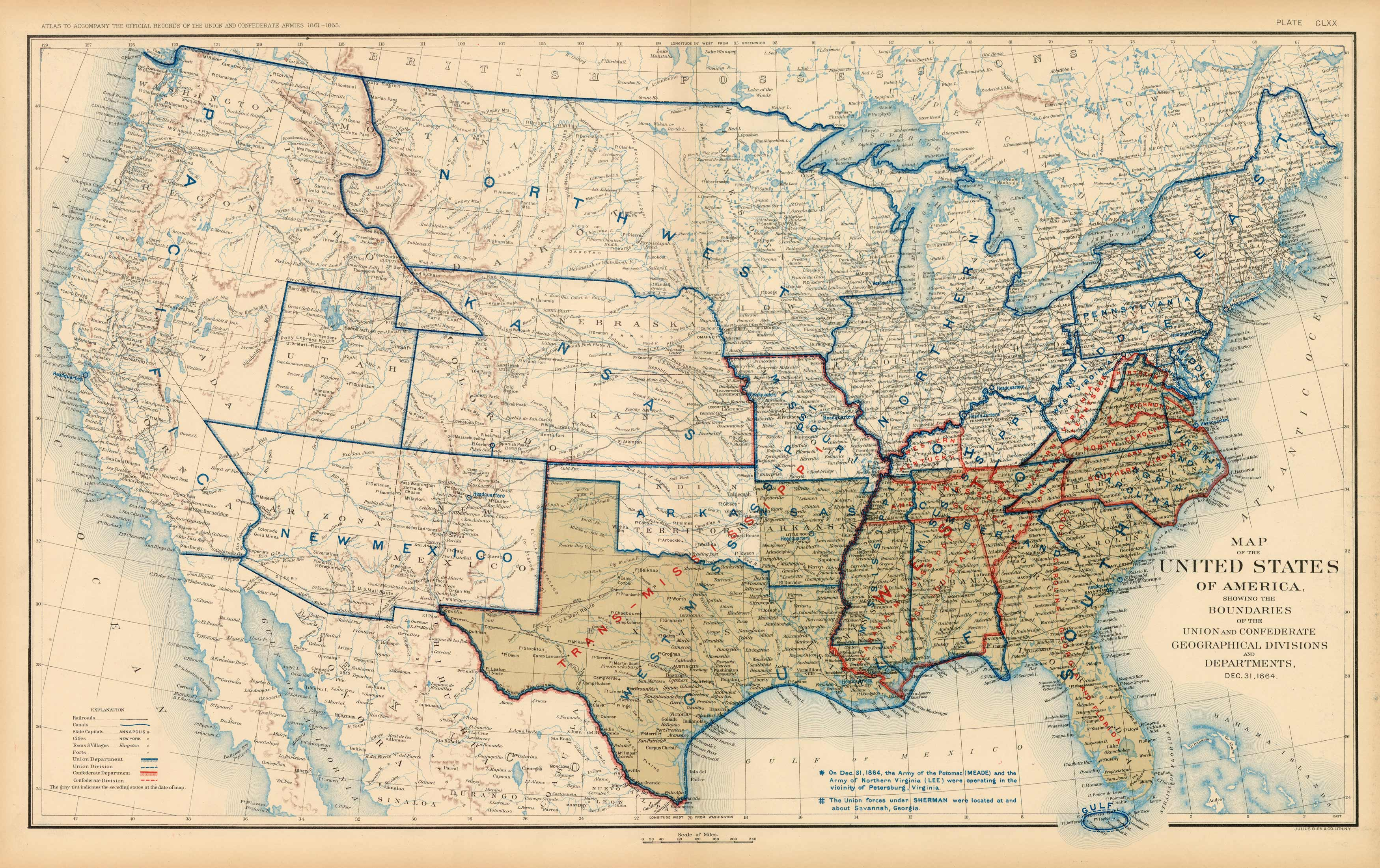 Civil War Atlas; Plate 170; Map of the United States of America Showing the  Boundaries of the Union and Confederate Geographical Divisions and ...