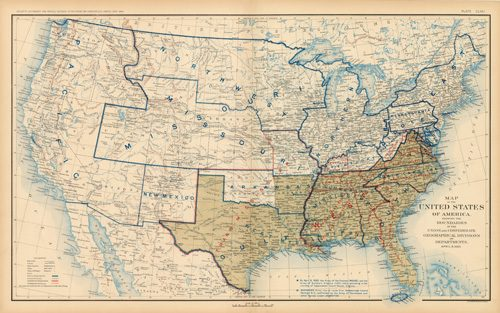 Civil War Atlas; Plate 171; Map of the United States of America Showing the Boundaries of the Union and Confederate Geographical Divisions and Departments
