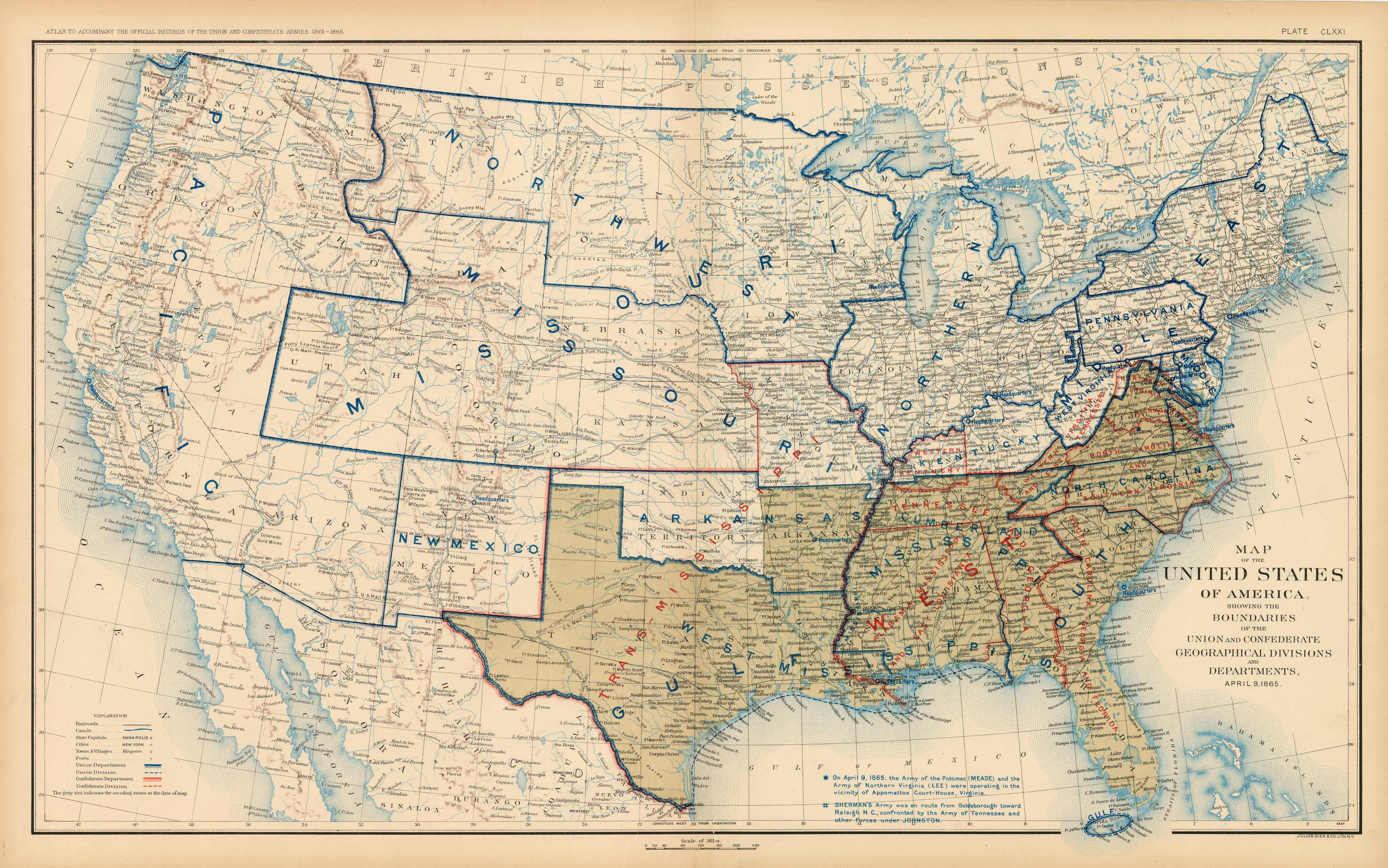Civil War Atlas; Plate 171; Map of the United States of America Showing the  Boundaries of the Union and Confederate Geographical Divisions and ...
