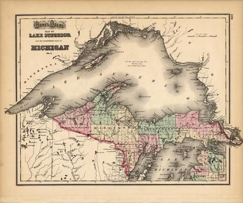 Map of Lake Superior and the Northern Part of Michigan