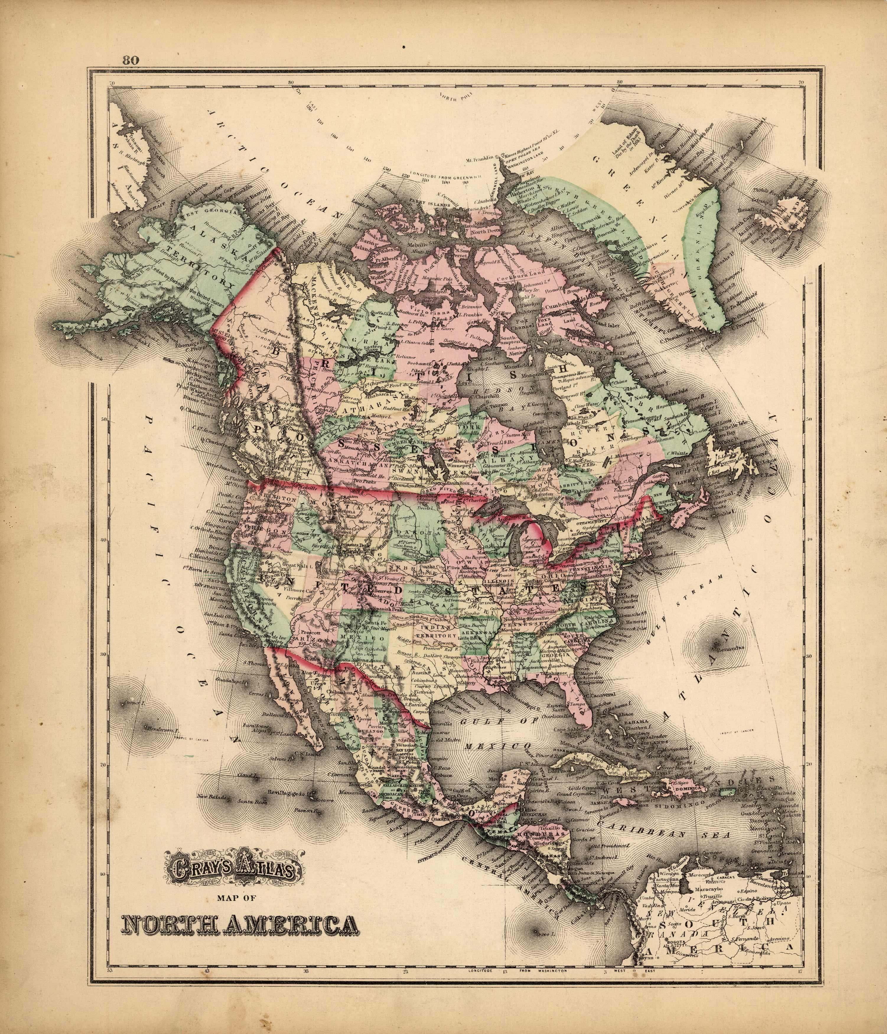 Grays Atlas Map of North America'