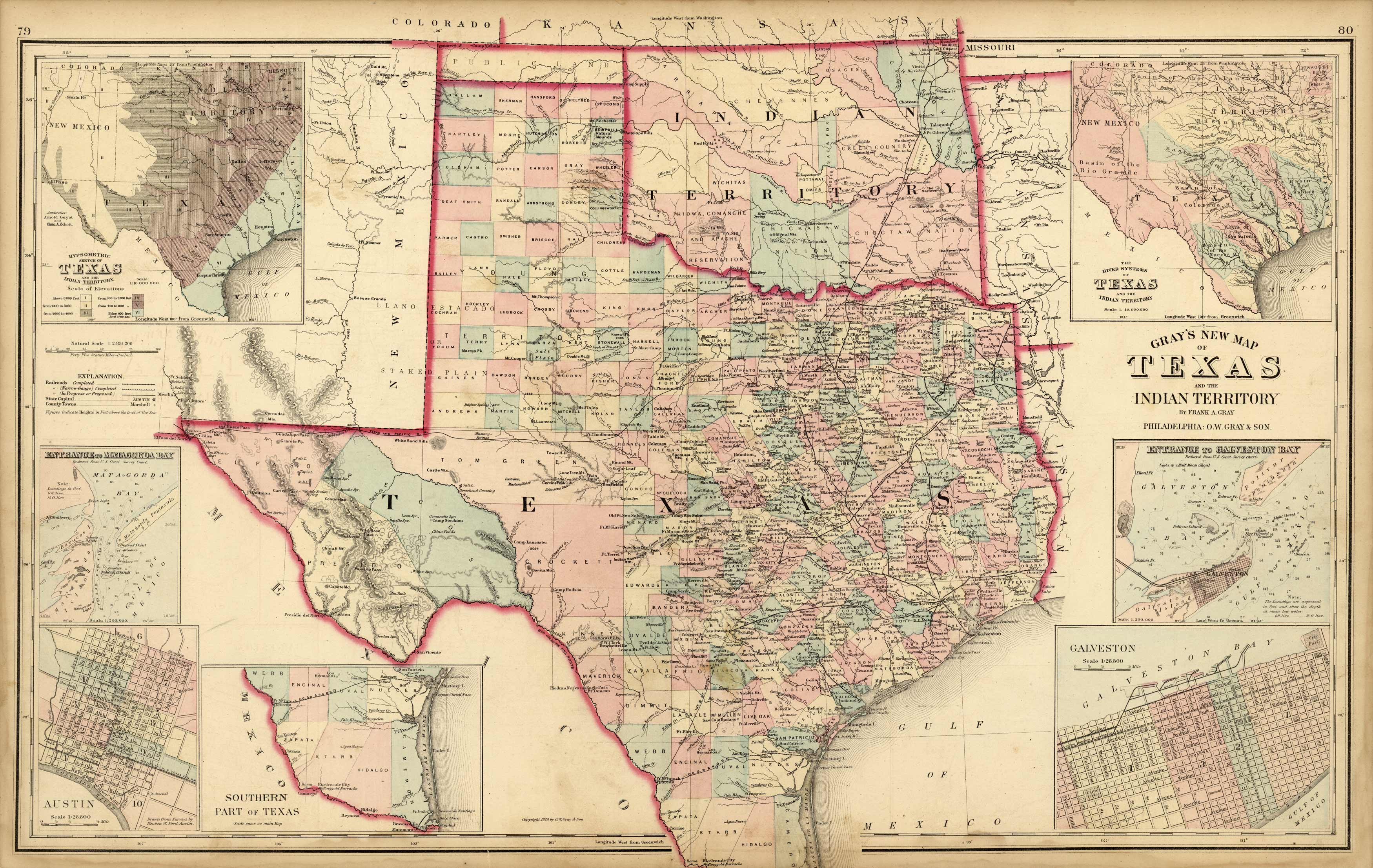 Grays New Map of Texas and the Indian Territory (Oklahoma) with insets of Entrance to Matagorda Bay