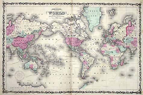 Johnsons Map of the World on Mercator's Projection'
