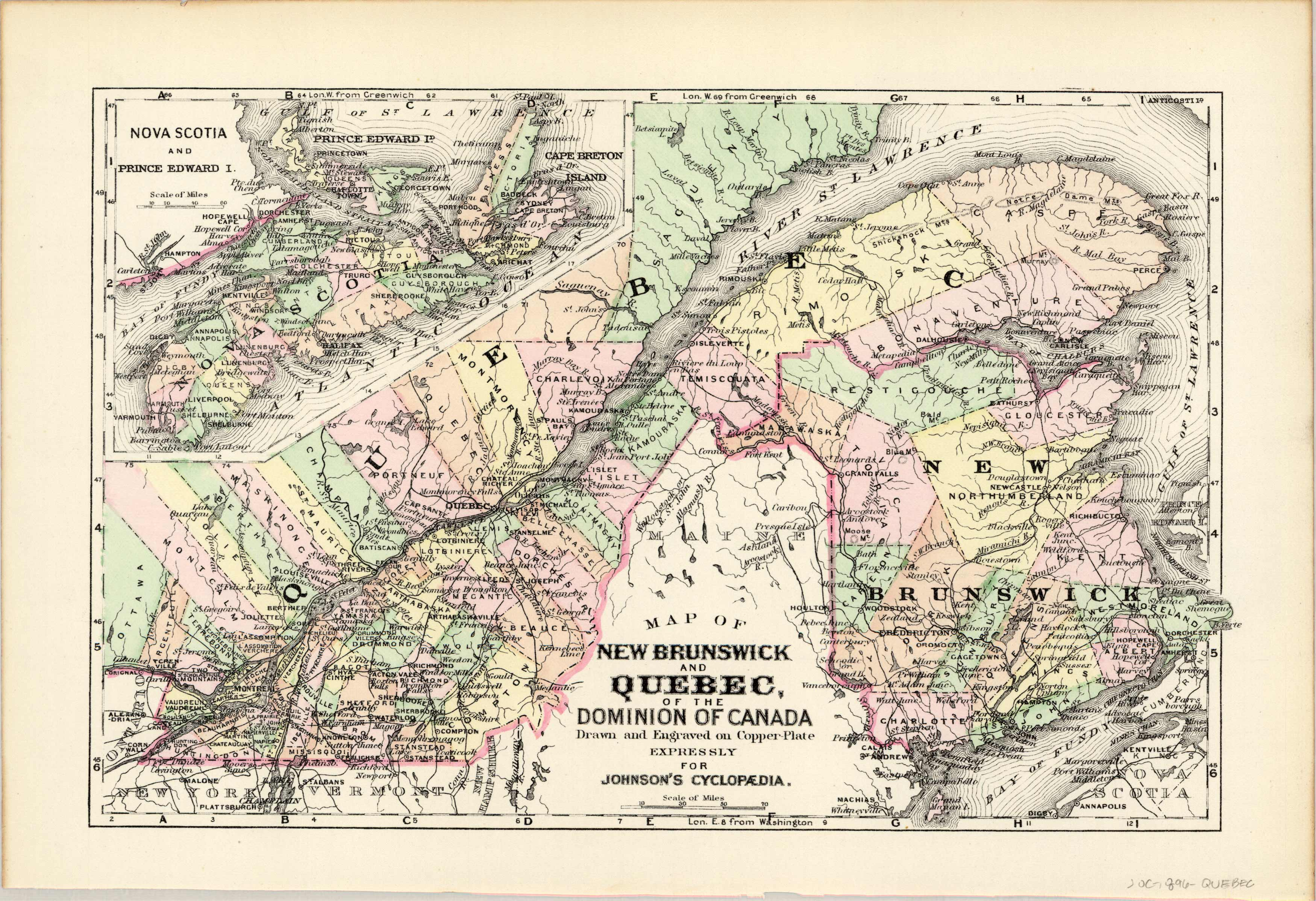 Map of New Brunswick and Quebec of the Dominion of Canada