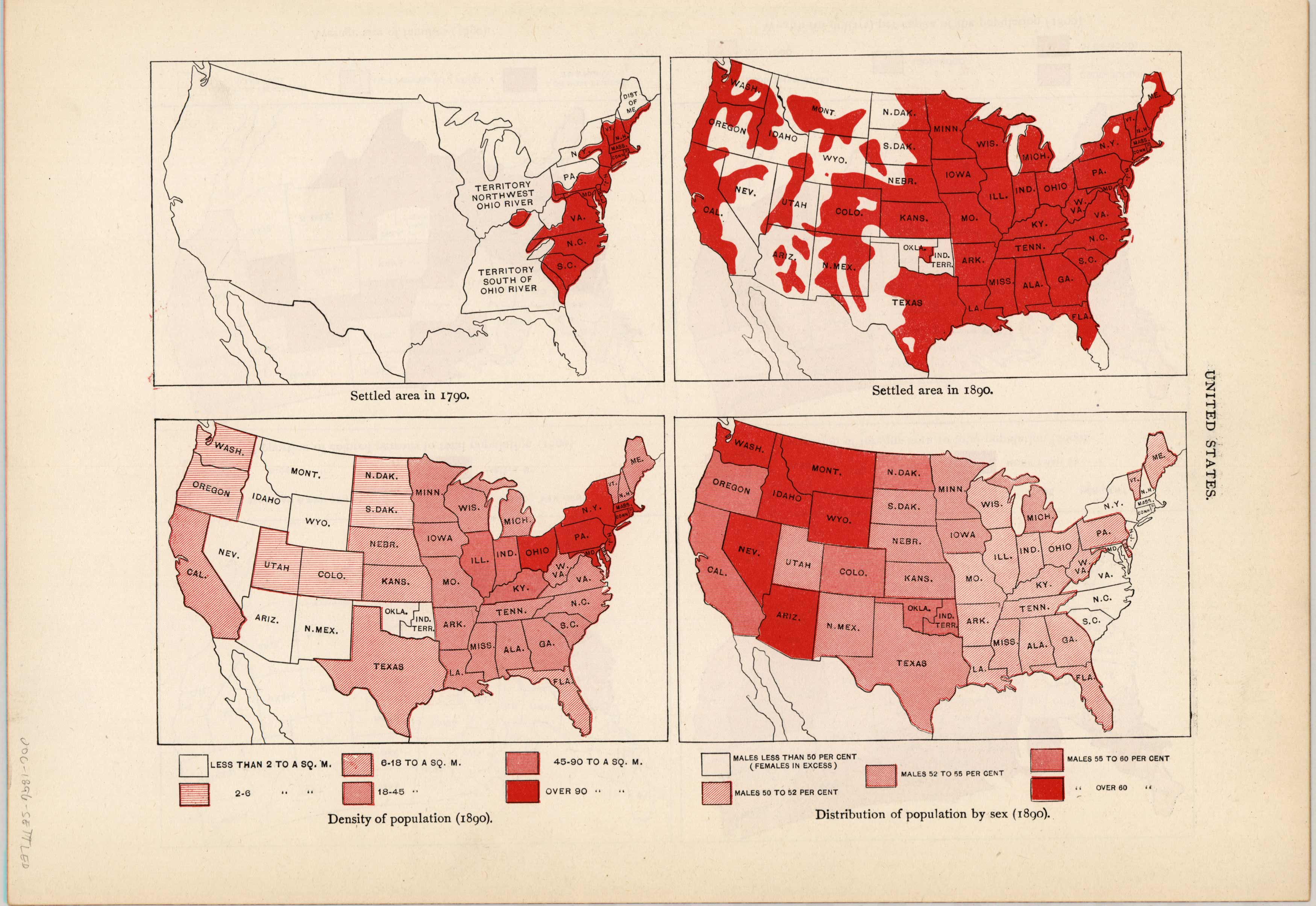 United States Settled Areas in 1790