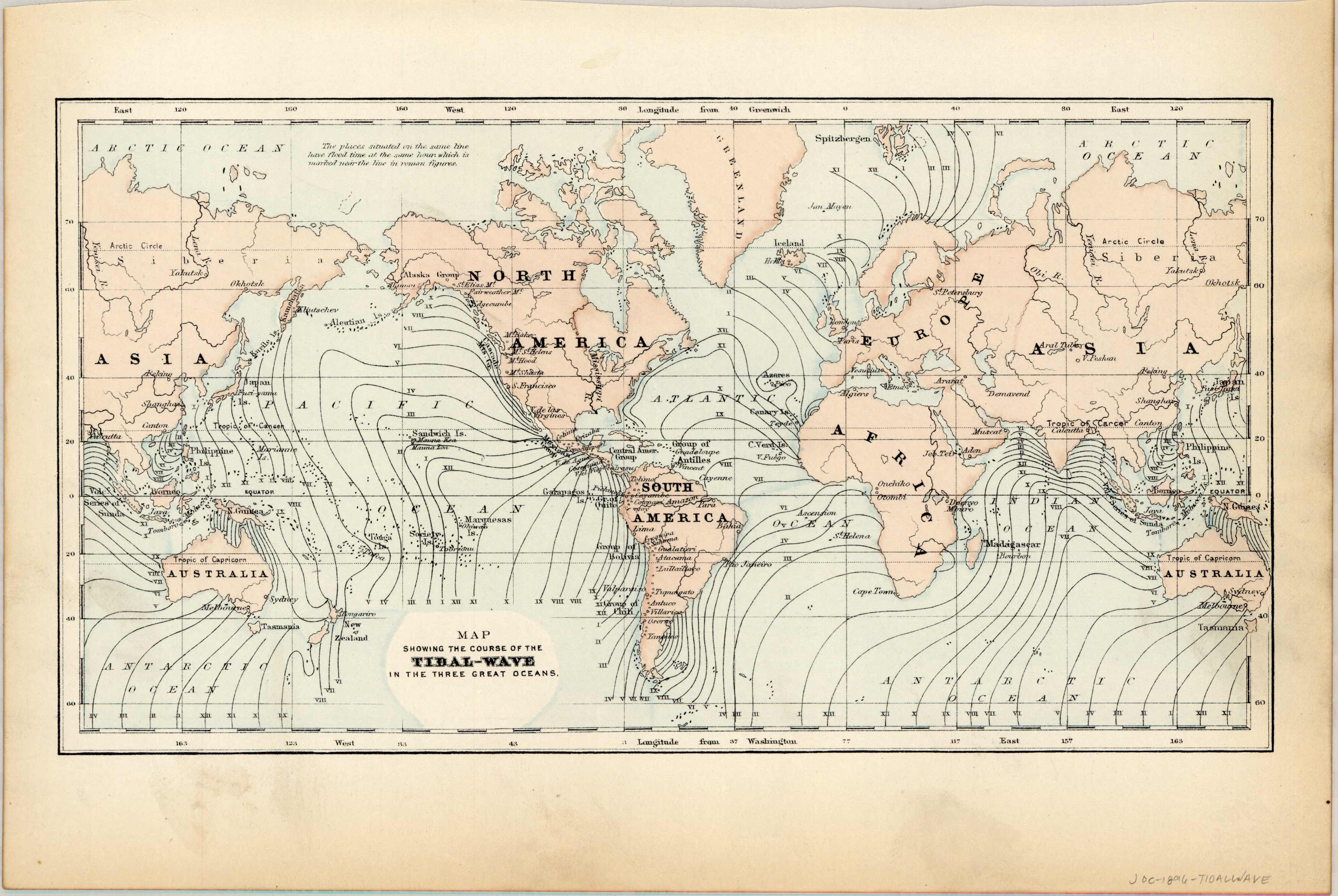 Map showing the Course of the Tidal-Wave in the Three Great Oceans