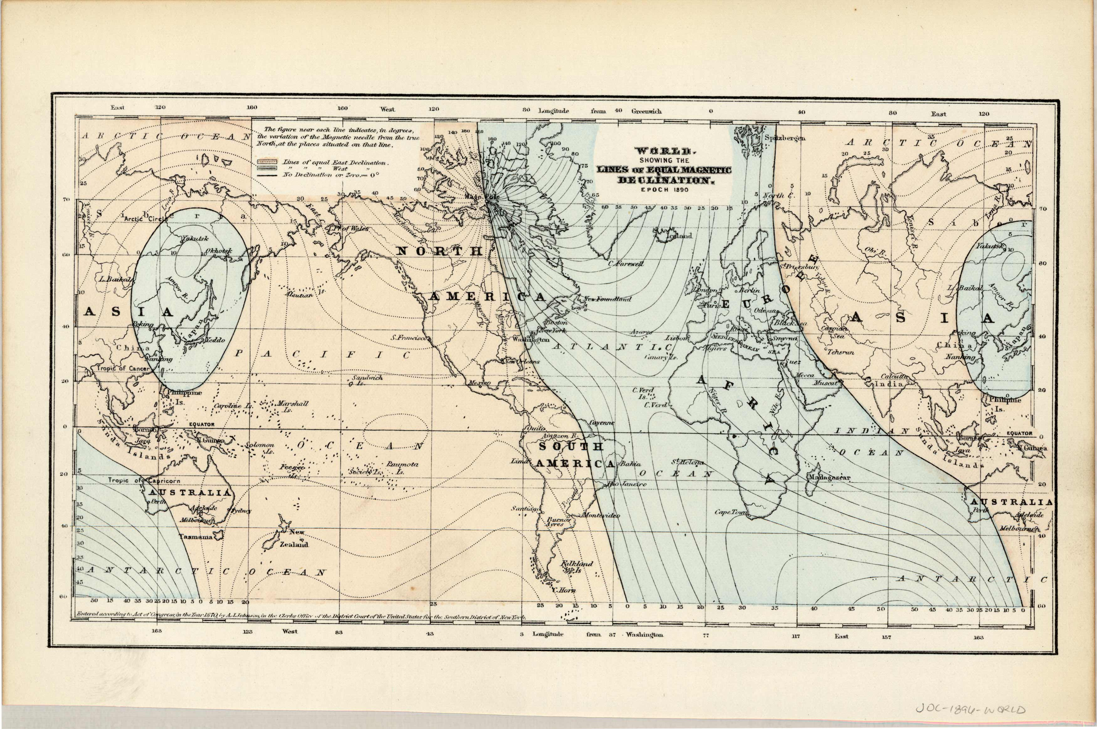 World Showing the Lines of Equal Magnetic Declination