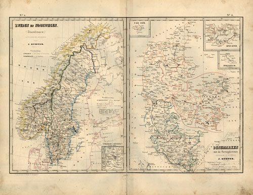 Zweden en Noorwegen (Skandinavie) (Sweden and Norway - Scandinavia) & Denemarken met de Hertogdommen (Denmark)