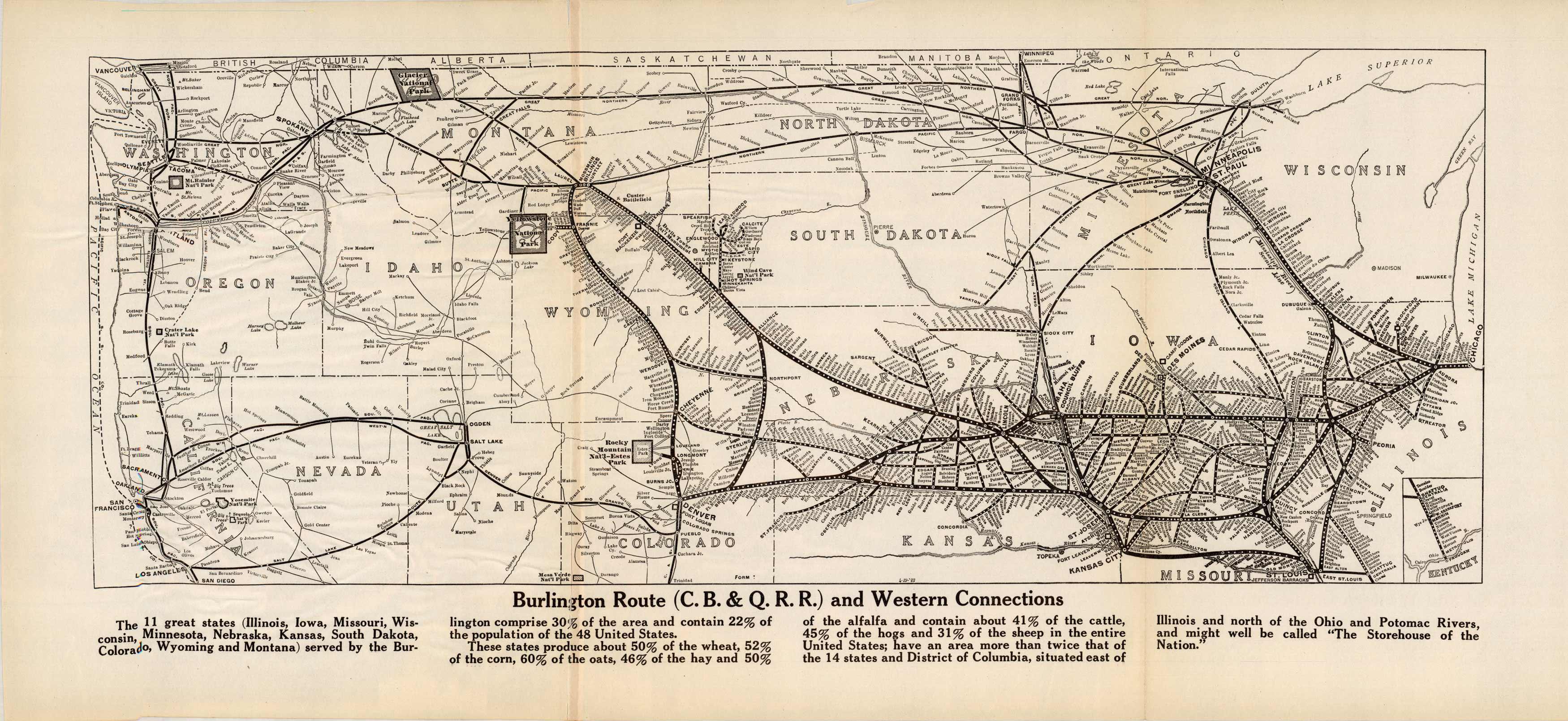 Burlington Route (C.B. & Q.R.R.) and Western Connections