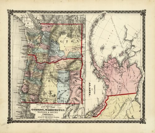 County Map of Oregon and Washington/Territory of Alaska