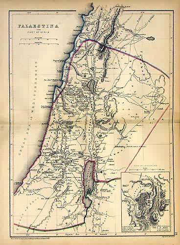 Palestina with Part of Syria with an inset map of Jerusalem