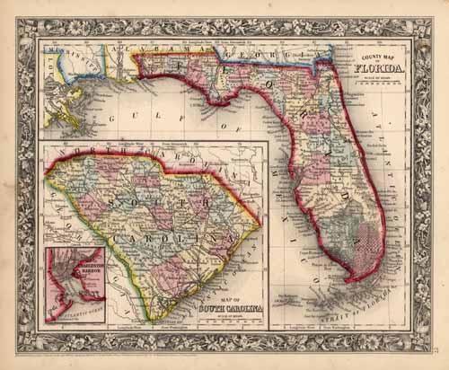 County Map of Florida. Map of South Carolina. Map of Charleston Harbor.