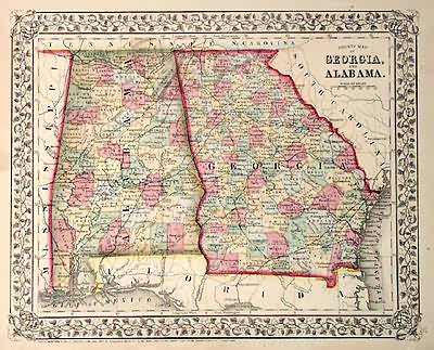 County Map of Georgia and Alabama
