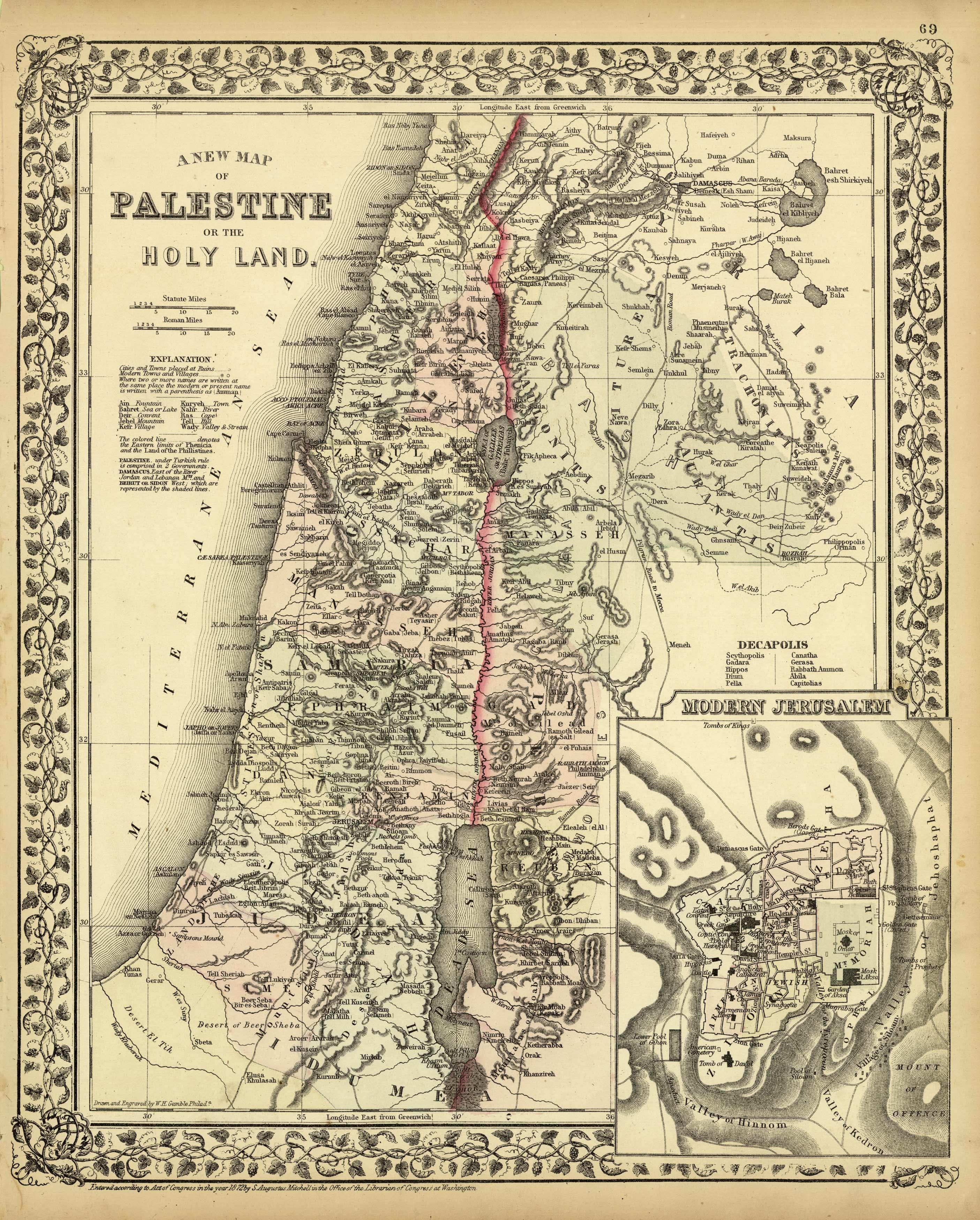 A New Map of Palestine or the Holy Land / Modern Jersusalem