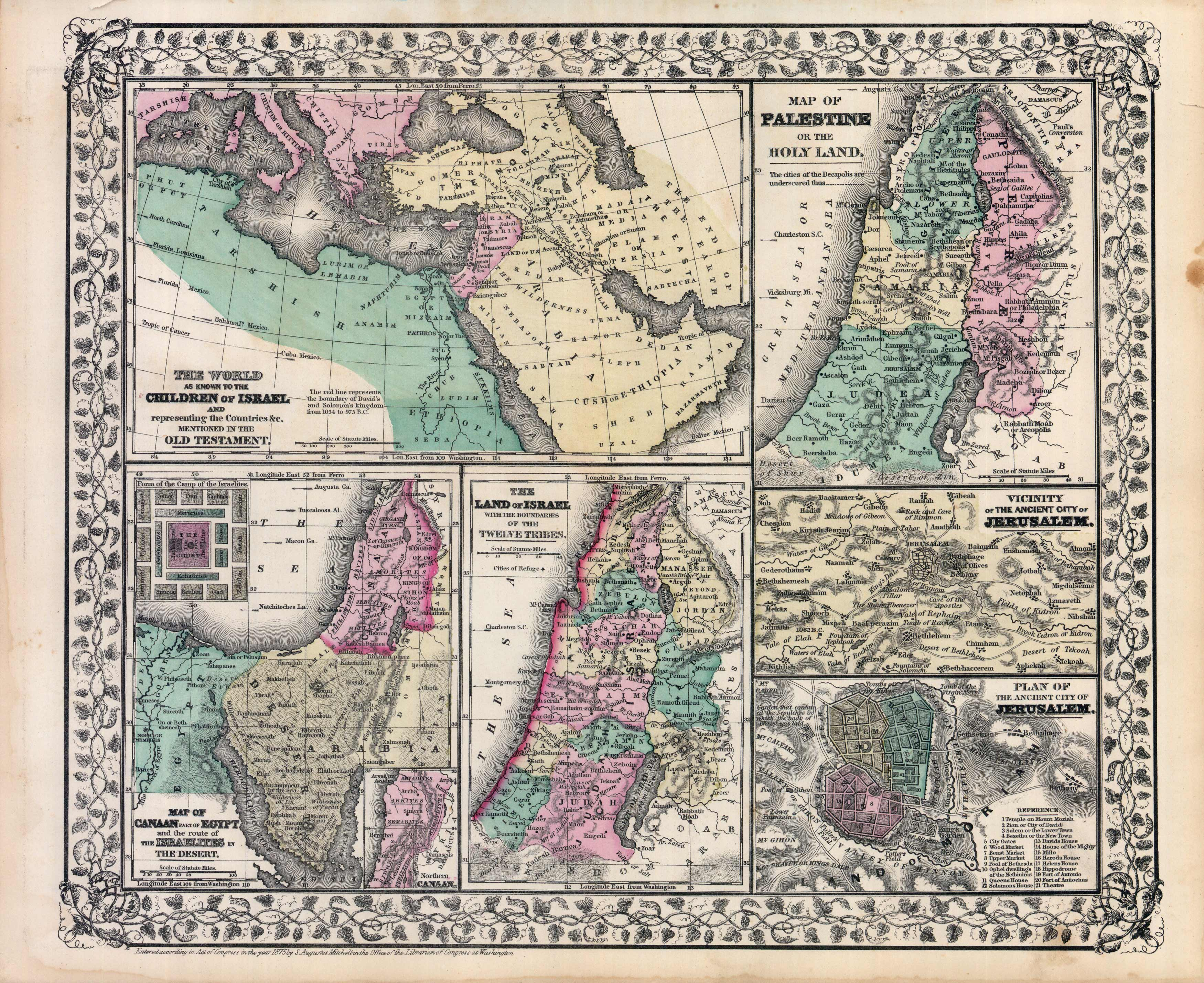 The World as Known to the Children of Israel / Palestine / Canaan Part of Egypt and the route of the Israelites in the Desert/ Land of Israel / Jerusalem