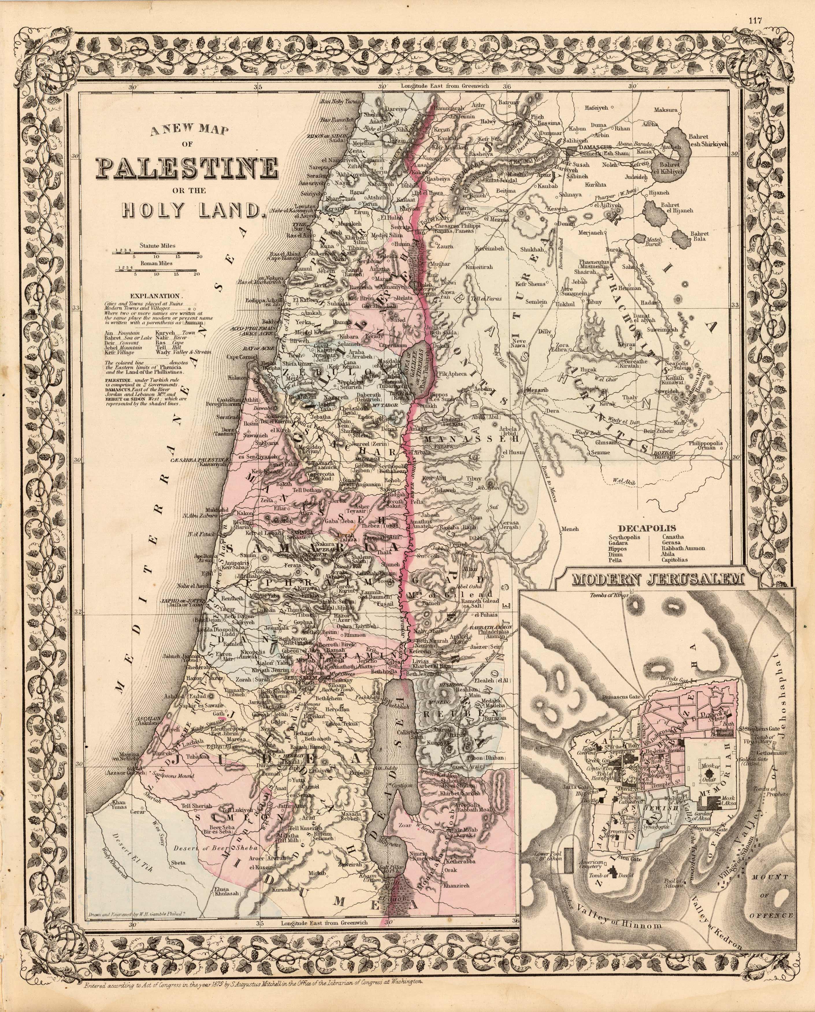 A New Map of Palestine or the Holy Land; Modern Jerusalem
