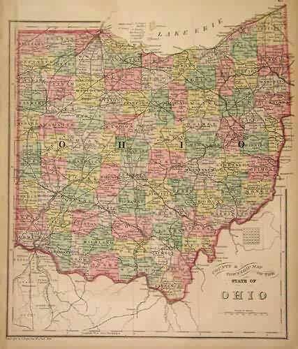 County & Township Map of the State of Ohio