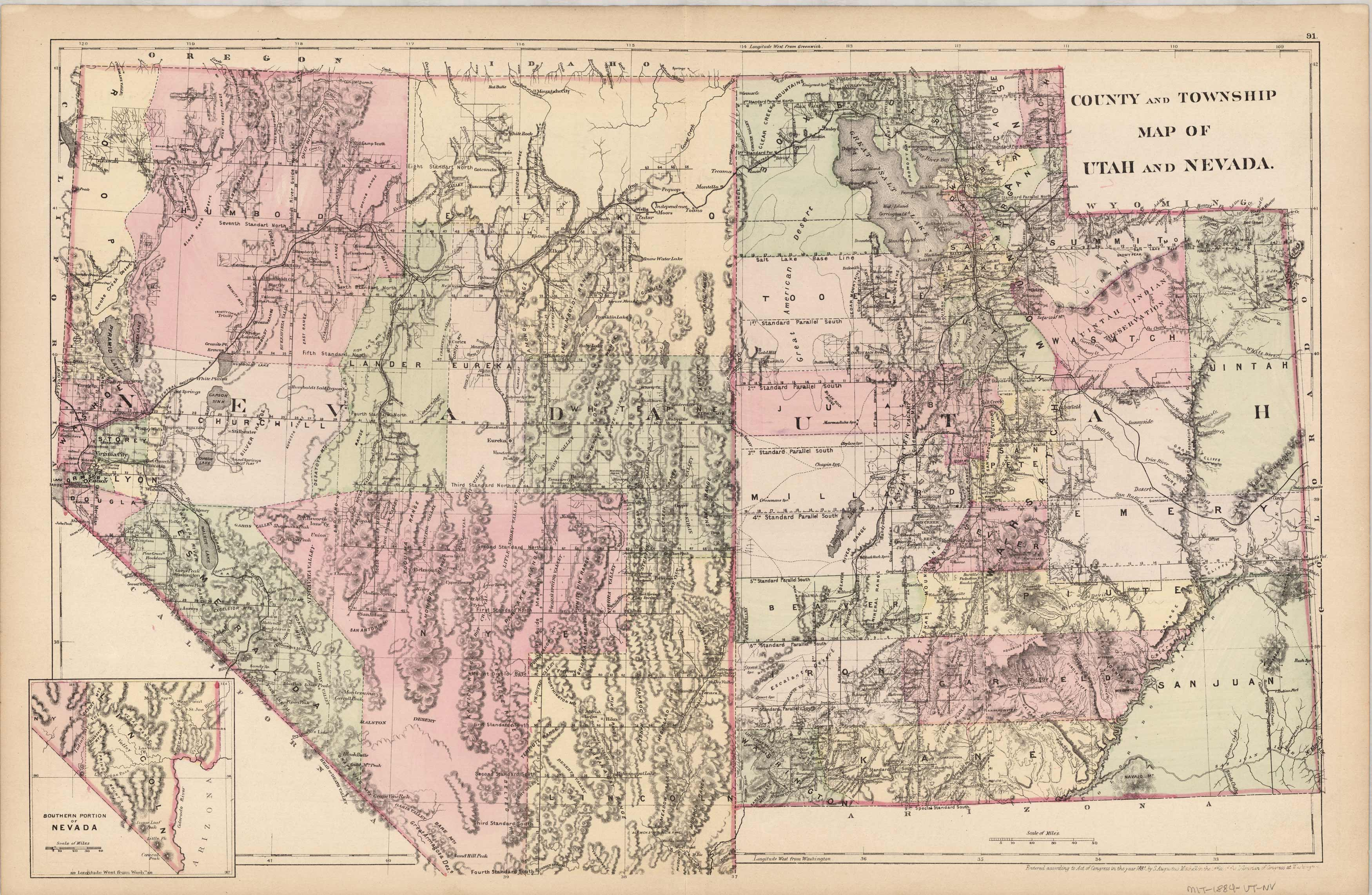 County and Township map of Utah and Nevada