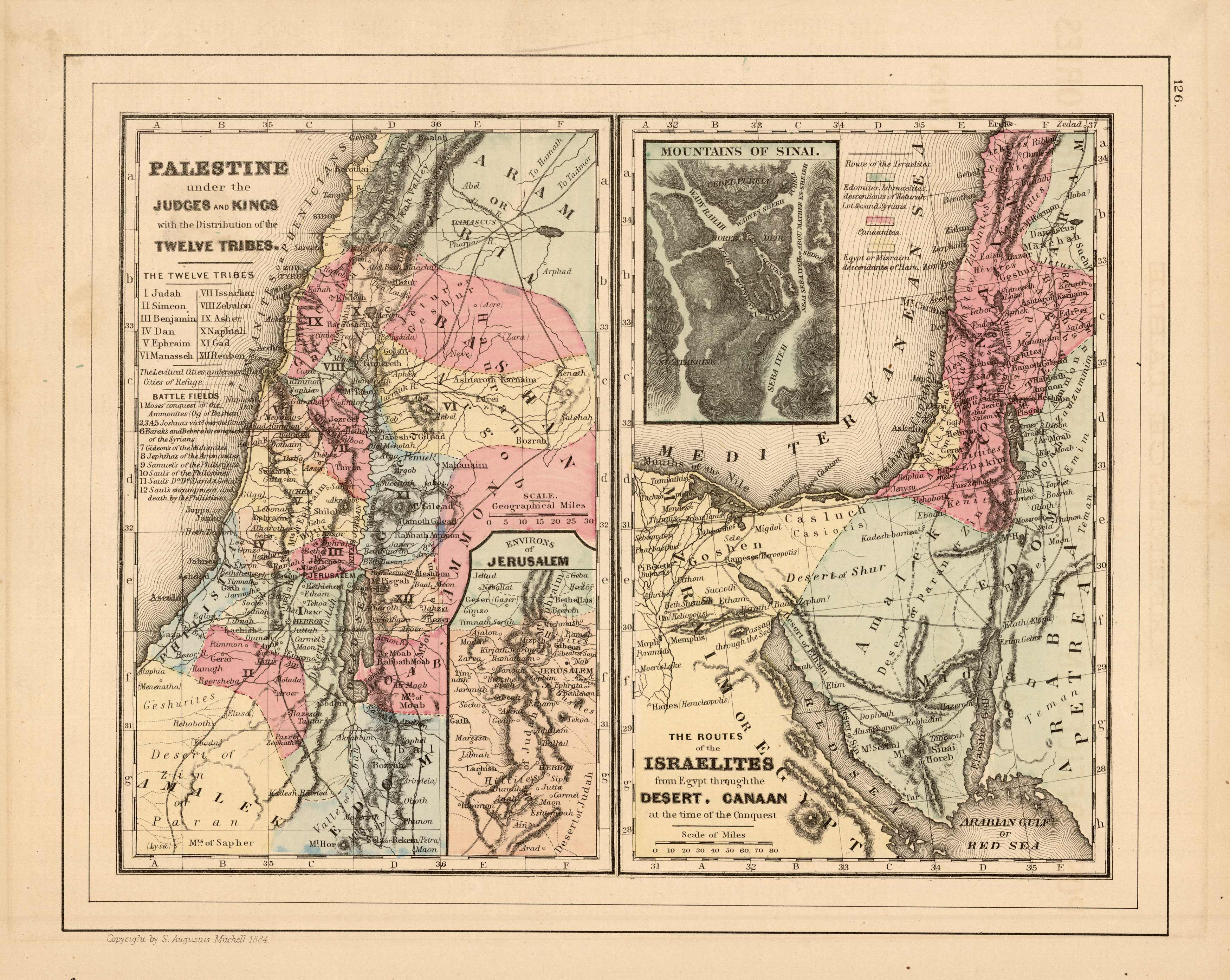 Palestine under the Judges and Kings with the Distribution of the Twelve Tribes and The Routes of the Israelites from Egypt Through the Desert. Canaan at the Time of the Conquest