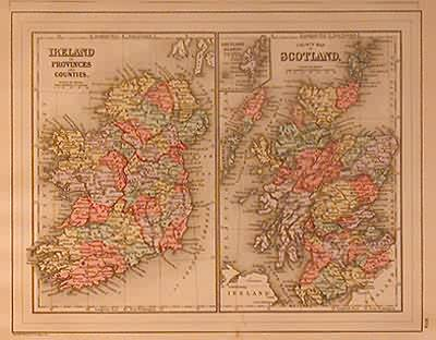 Ireland in Provinces and Counties- County Map of Scotland