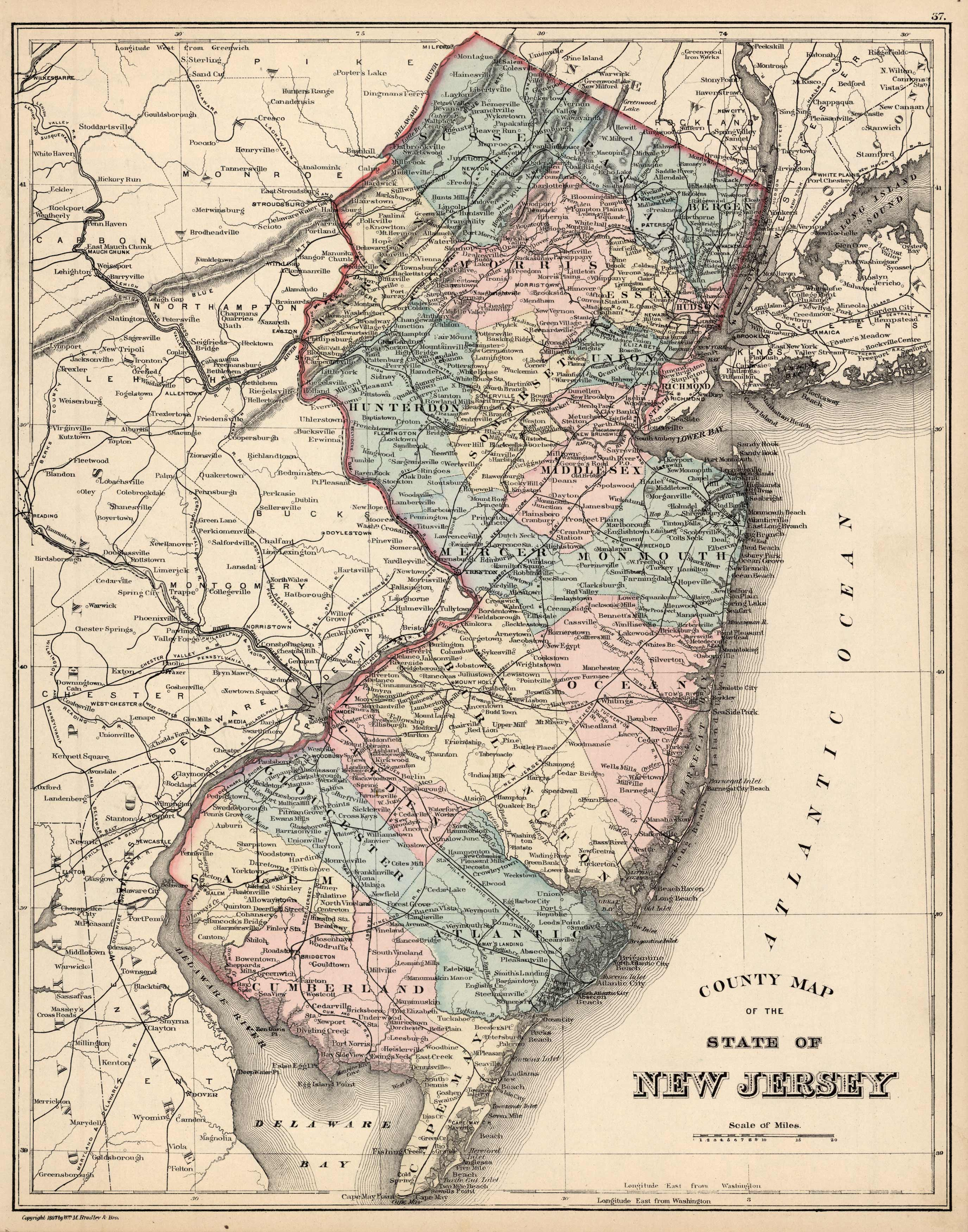 County Map of the State of New Jersey