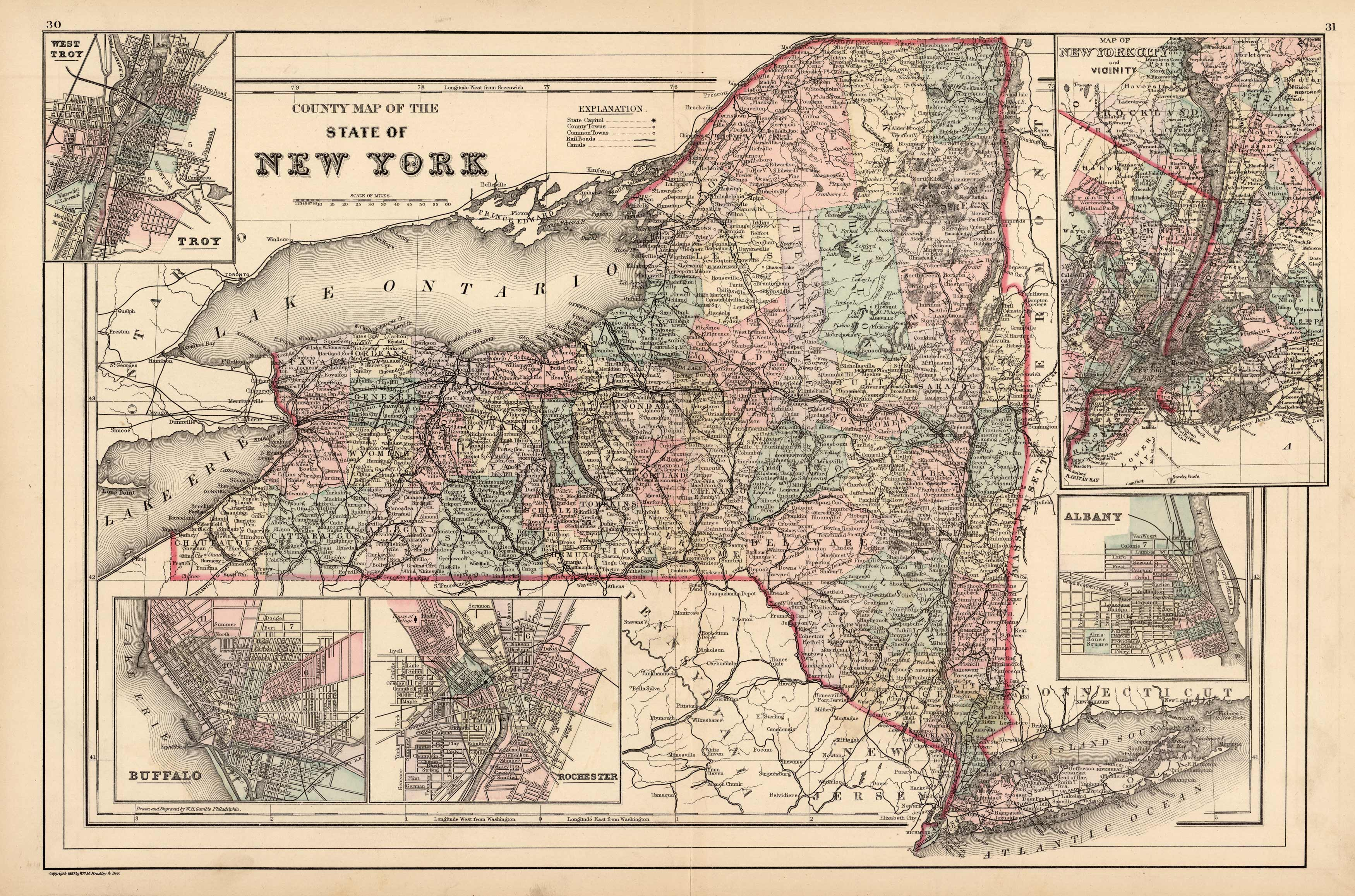 County Map of the State of New York (with inset maps of Troy