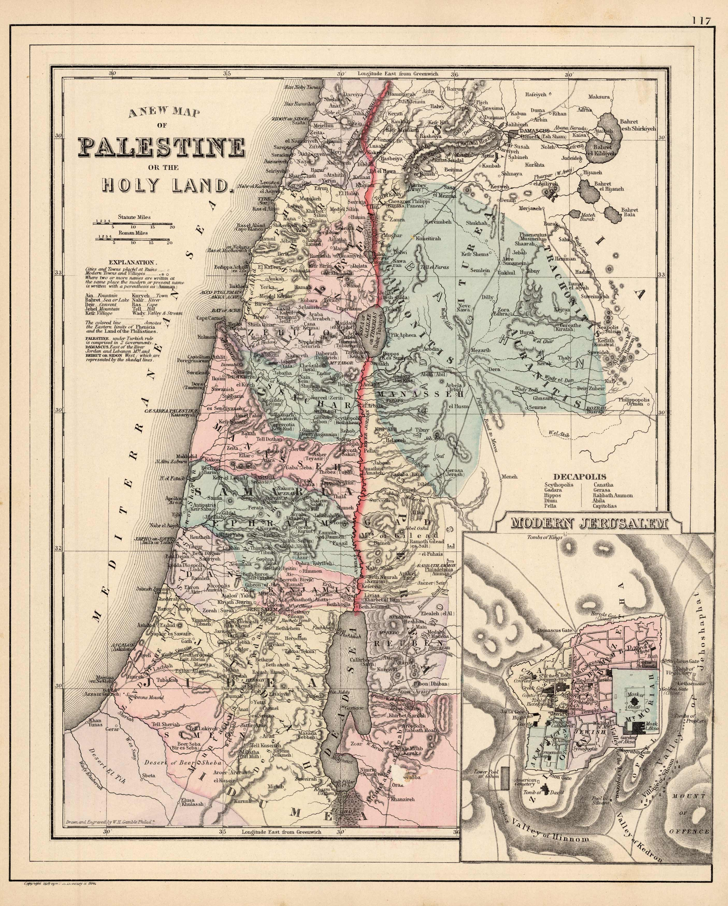 A New Map of Palestine or the Holy Land (with an inset map of Modern Jerusalem)