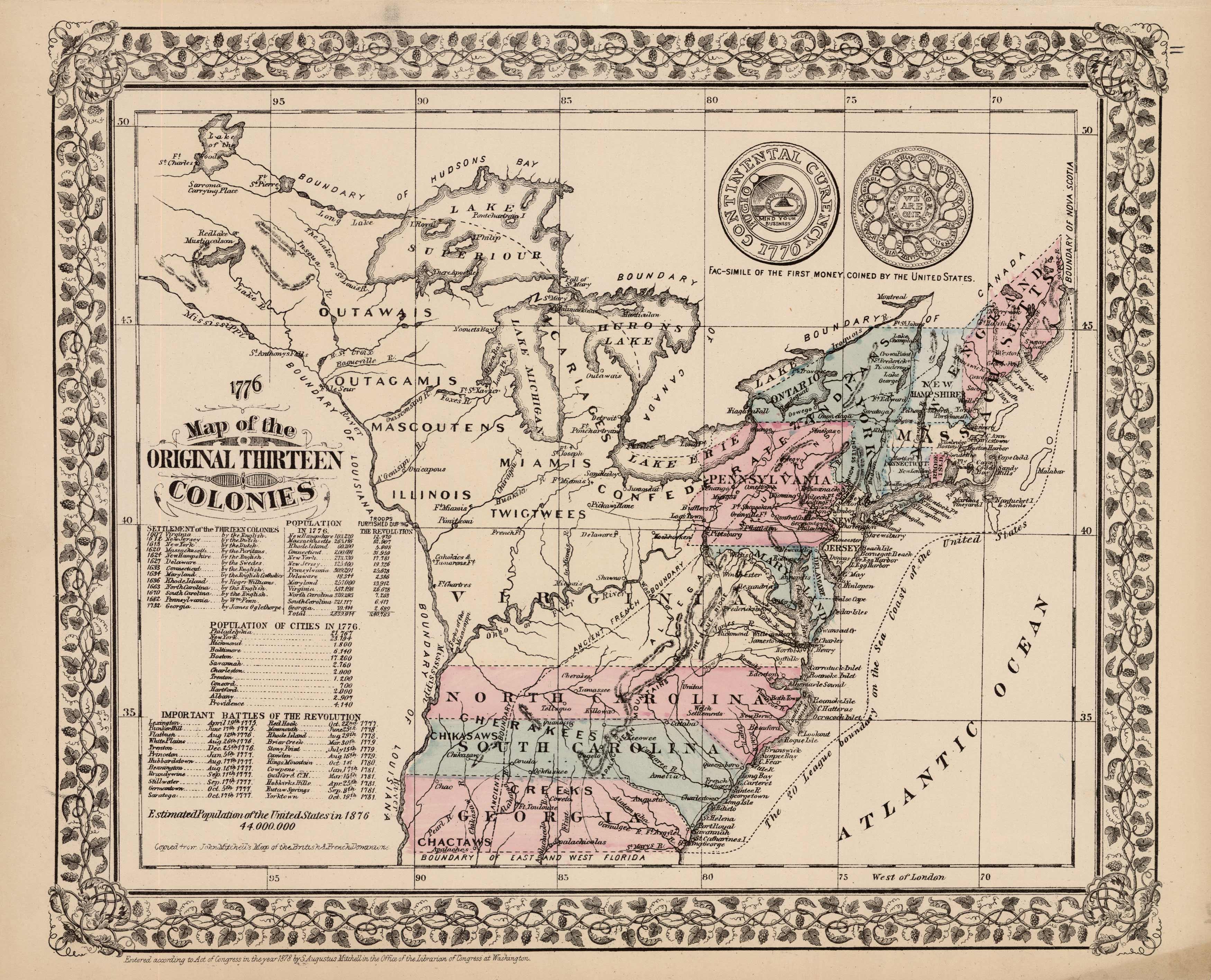Map of the Original Thirteen Colonies